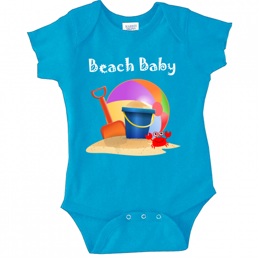 Turquoise baby onesie with the beach ball, crab, shovel and Pail.